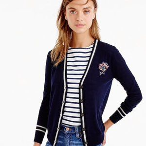 J. Crew Navy Cardigan Sweater with Floral